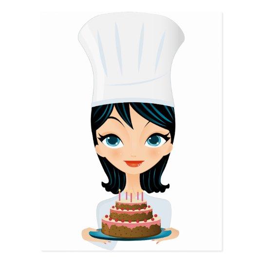 Postal Torta de cumpleaños del cocinero de la mujer