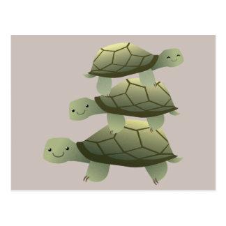 Postal Tortuga acuática apilada Tutles linda tres
