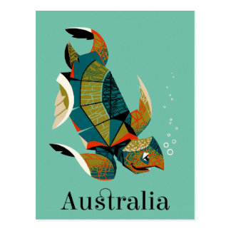 Postal Tortuga de mar australiana alegre
