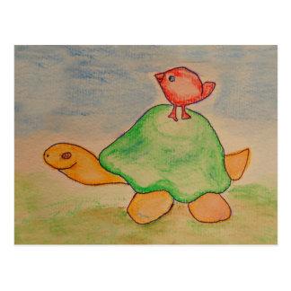 Postal Tortuga y pájaro que van para un paseo