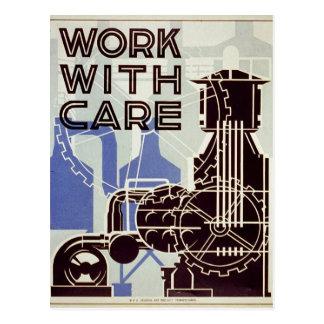 Postal Trabajo con el cuidado - 1936