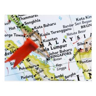 Postal Trace el perno colocado en Singapur en el mapa,