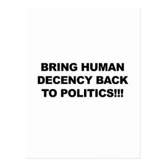 Postal Traiga la decencia humana detrás