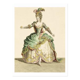 Postal Traje para Venus en varias óperas, grabado por t