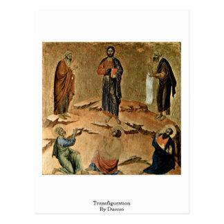 Postal Transfiguración por Duccio