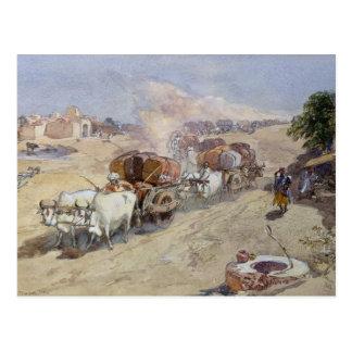 Postal Transporte del algodón, la India, 1862 (w/c sobre