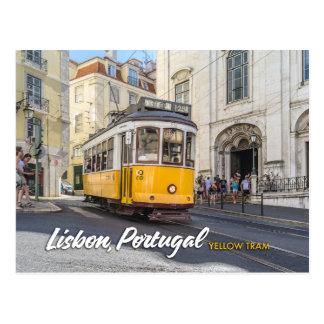 Postal tranvía amarilla en Lisboa, Portugal