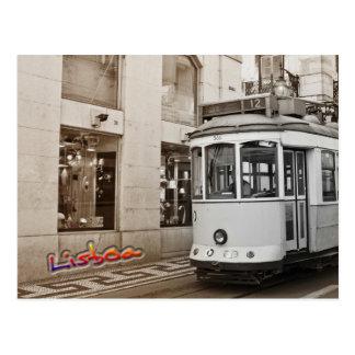 Postal Tranvía y color de Lisboa
