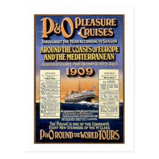 Postal Travesías del placer de P&O - poster del viaje del