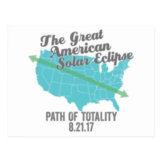 Postal Trayectoria 2017 del eclipse solar de la totalidad