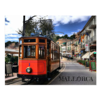 postal tren de Sóller en la isla de Mallorca