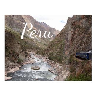 Postal Tren del carril del inca a Machu Picchu en la