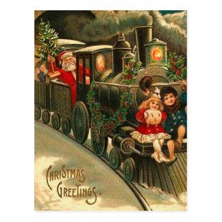 Postal Tren del navidad de Papá Noel del vintage