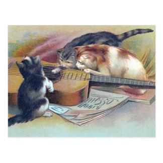 Postal Tres gatitos y un ejemplo del vintage de la