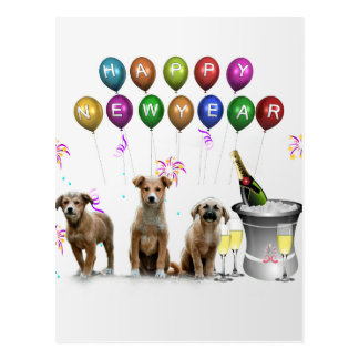 Postal Tres perros lindos que desean la Feliz Año Nuevo
