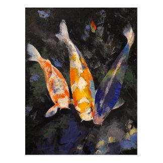Postal Tres pescados de Koi