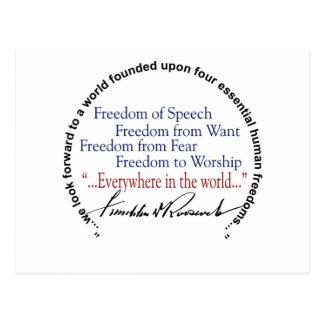 Postal Tributo de las libertades del FDR cuatro