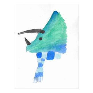 Postal Triceratops en una bufanda