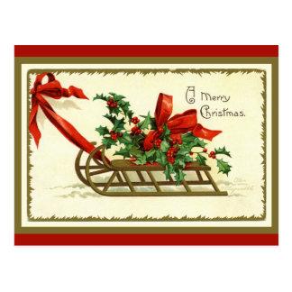Postal Trineo de oro del navidad del vintage