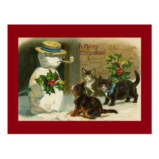 Postal Trío y muñeco de nieve del gatito