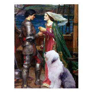 Postal Tristam y perro pastor inglés Isolda-Viejo 1