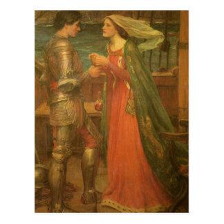 Postal Tristan e Isolda por el Waterhouse, bella arte del