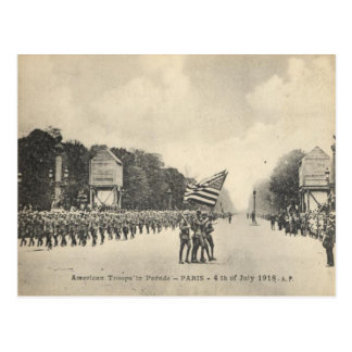 Postal Tropas americanas en París, el 4 de julio de 1918