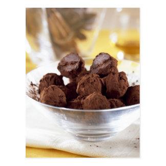 Postal Trufas con el chocolate negro del 70% para el uso