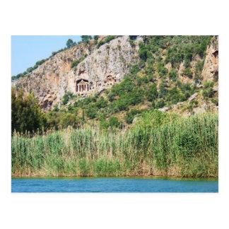 Postal Tumbas de la roca de Lycian, Dalyan, Turquía