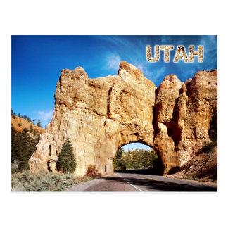 Postal Túnel del camino, barranco rojo, Utah