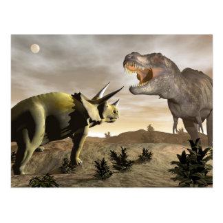 Postal Tyrannosaurus que ruge en el triceratops - 3D