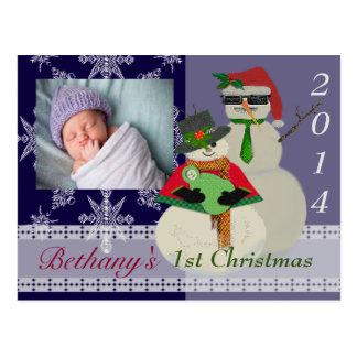 Postal U escoge navidad del 1r bebé del muñeco de nieve