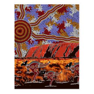Postal Uluru - arte aborigen auténtico