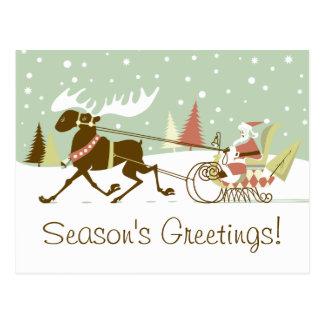 Postal Un alce abre el navidad retro de Papá Noel del
