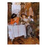 Postal Un almuerzo (Le Dejeuner) de James Tissot