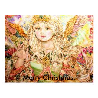 Postal Un ángel esmeralda., Feliz Navidad