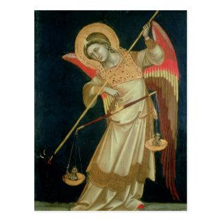 Postal Un ángel que pesa un alma, c.1348-55