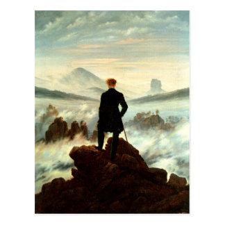 Postal Un caminante solitario sobre las nubes