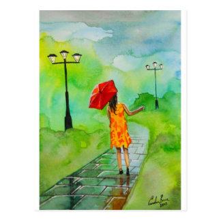 Postal un chica con un paraguas rojo de Gordon Bruce