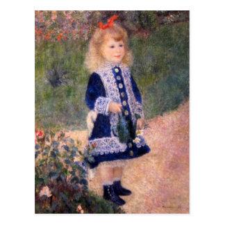 Postal Un chica con una regadera de Pedro Renoir