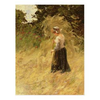 Postal Un chica que cosecha el heno, siglo XIX