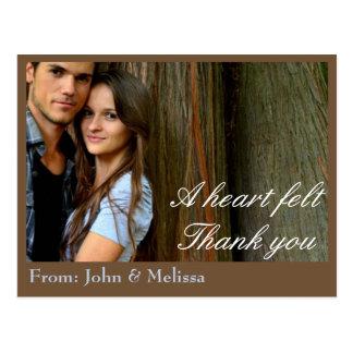 Postal Un fieltro del corazón le agradece