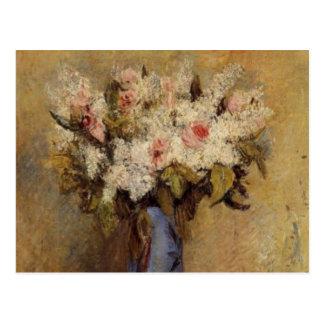 Postal Un florero de Renoir de lilas y de rosas