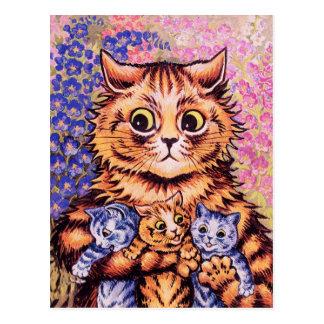 Postal Un gato con sus gatitos de Louis Wain