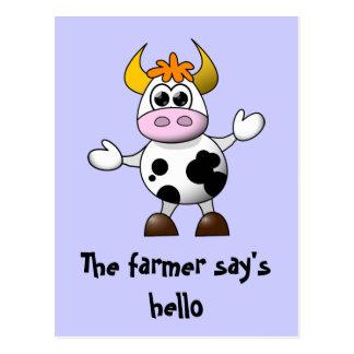 Postal Un granjero dice hola la vaca divertida del dibujo