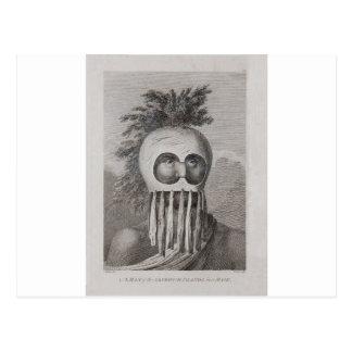 Postal Un hombre de las islas de bocadillo en una máscara