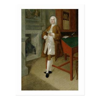 Postal Un hombre desconocido en una biblioteca, c.1740-41