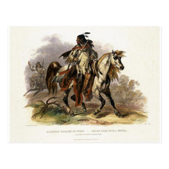 Postal Un indio Blackfoot a caballo, platea 19 del vol.