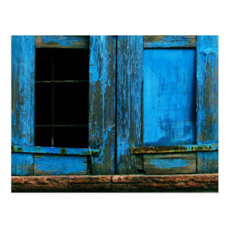 Postal Un obturador azul viejo rústico hermoso Grecia de