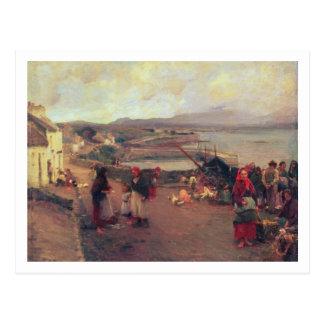 Postal Un pueblo de Connemara - la manera al puerto, 1898